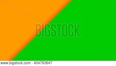 Color Background Orange And Green For Banner, Two Tone Opposite Colors, Orange And Green Paper Backg