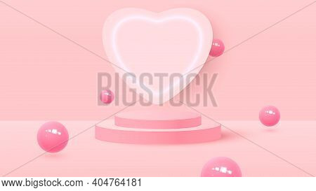 3d Render Of Pink Love Valentine Pastel Stages Background Or Texture. Bright Pastel Podium Or Pedest