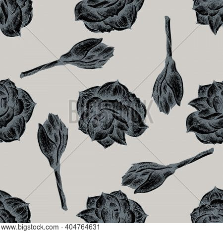 Seamless Pattern With Hand Drawn Stylized Amaryllis Stock Illustration