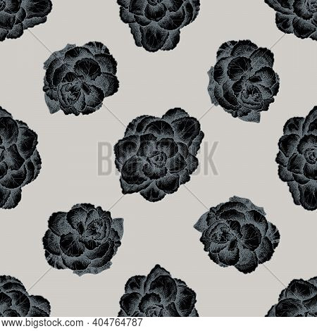 Seamless Pattern With Hand Drawn Stylized Brassica Stock Illustration