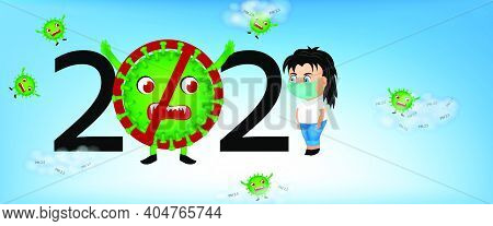 Banner Background Coronavirus, Covid 19 Is Not Gone, Pm2.5 Is Still There. Protect Dust Pm 2.5. Soci