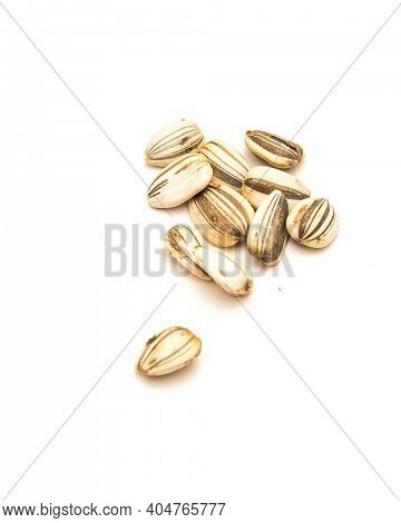 Pile Of Homegrown Mammoth Sunflower Seeds Isolated On White Background