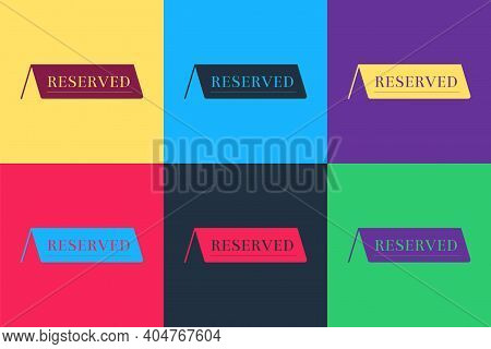 Pop Art Reserved Icon Isolated On Color Background. Vector