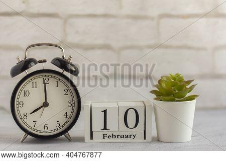 February 10 On The Calendar. Winter February Morning.