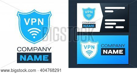Logotype Shield With Vpn And Wifi Wireless Internet Network Icon Isolated On White Background. Vpn P