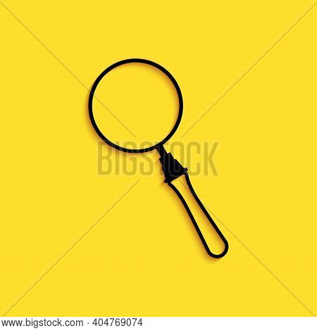Black Magnifying Glass Icon Isolated On Yellow Background. Search, Focus, Zoom, Business Symbol. Lon
