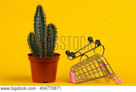 Shopping Concept. Cactus In Pot And Supermarket Trolley  On Yellow Studio Background. Minimalism