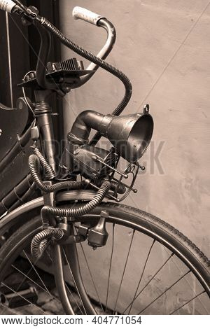 A Close Up Shot Of An Old Bicycle.