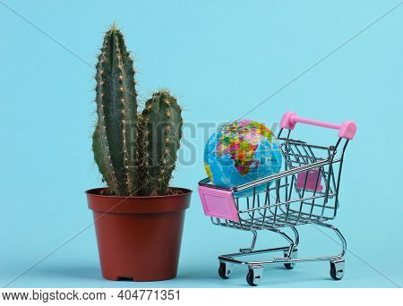 Global Shopping Concept. Cactus In Pot And Supermarket Trolley With Globe On Blue Studio Background.