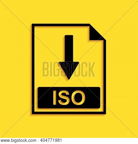 Black Iso File Document Icon. Download Iso Button Icon Isolated On Yellow Background. Long Shadow St