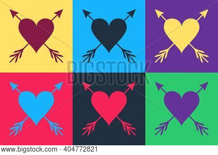 Pop Art Heart With Arrow Icon Isolated On Color Background. Happy Valentines Day. Cupid Dart Pierced