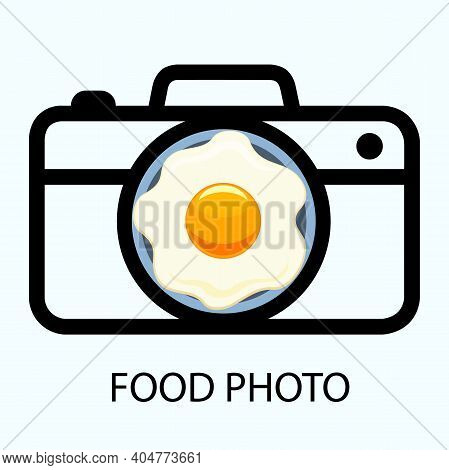 Photo Camera Logo Icon With Colorful Fried Egg On Plate For Food Photo. Breakfast Camera Design .vec