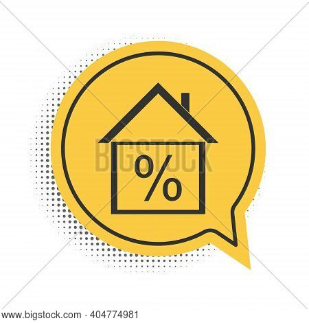 Black House With Discount Tag Icon Isolated On White Background. House Percentage Sign Price. Real E