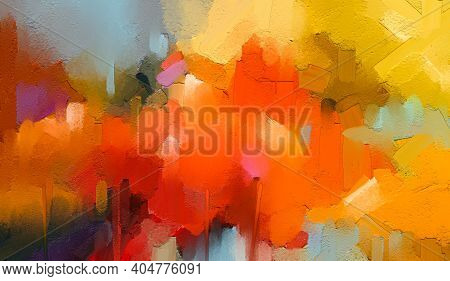 Abstract Colorful Oil Painting On Canvas Texture. Semi- Abstract Paint Of Tree In Landscape. Modern