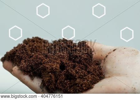 Soil Close Up, Chemical Composition Of Fertile Soil For Indoor Plants, Agriculture, Mockup, Copy Spa