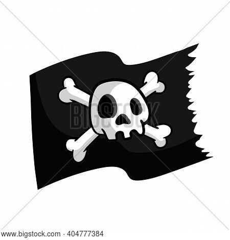Pirate Flag. Skull And Bones On Black Ribbon. Element Of Death. Emblem And Symbol Of Theft And Robbe