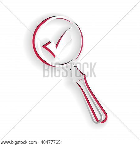 Paper Cut Magnifying Glass And Check Mark Icon Isolated On White Background. Magnifying Glass And Ap