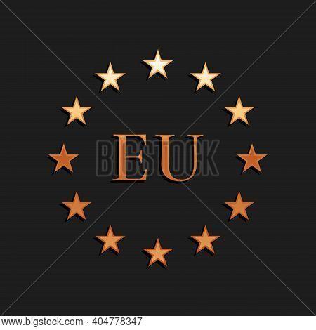 Gold Flag Of European Union Icon Isolated On Black Background. Eu Circle Symbol. Waving Eu Flag. Lon