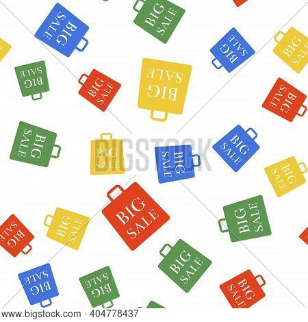 Color Shoping Bag With An Inscription Big Sale Icon Isolated Seamless Pattern On White Background. H