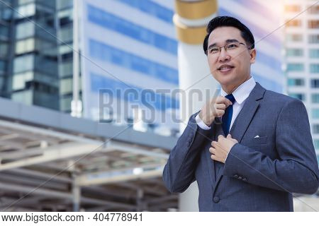 Portrait Happy Businessman In City Happy Leadership Business Man Get Confident And Determined He Wea