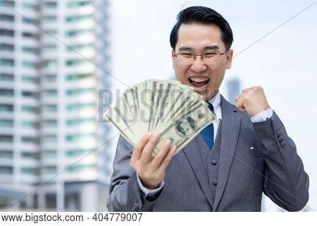 Unrecongnizable Businessman With Money In Suit Business Man Putting Money In Pocket Suit Rich Guy Ea