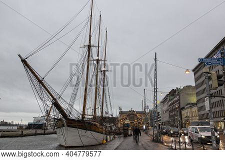 Helsinki, Finland - January 15, 2020: Sailing Ship Docked On The Waterfront Of Helsinki