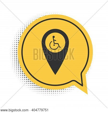 Black Disabled Handicap In Map Pointer Icon Isolated On White Background. Invalid Symbol. Wheelchair