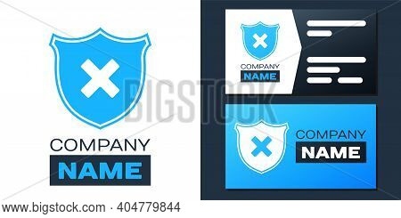 Logotype Shield And Cross X Mark Icon Isolated On White Background. Denied Disapproved Sign. Protect