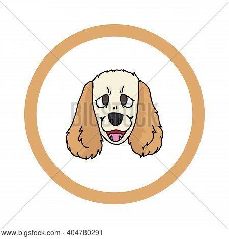 Cute Cartoon Cocker Spaniel Face In Circle Puppy Vector Clipart. Pedigree Kennel Doggie Breed For Ke