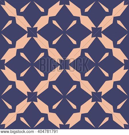 Simple Vector Geometric Seamless Pattern. Abstract Texture With Diamond Grid, Floral Shapes, Net, Me