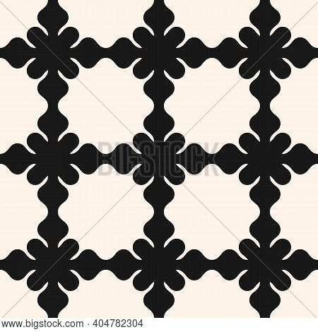 Vector Seamless Pattern, Floral Ornamental Background, Repeat Geometric Tiles, Curved Lines. Abstrac