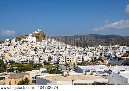 Chora Town Of Ios. Ios Island Is A Popular Tourist Destination In The Aegean Sea. Cyclades Islands,