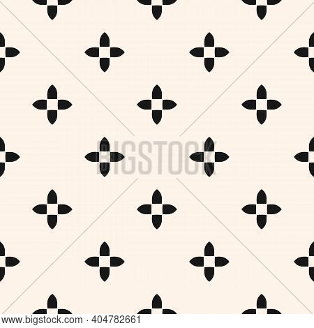 Simple Abstract Floral Seamless Pattern In Gothic Style. Black And White Vector Texture With Small F