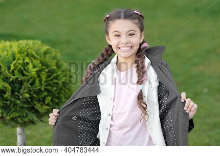 Good Mood. Autumn Weather. Cypress Tree. Happy Child With Thuja. Positive Kid. Little Girl With Tren