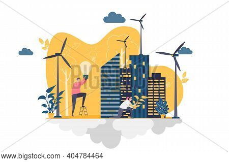 Green City Concept In Flat Style. People Planting Trees And Constructing Green City Scene. Ecology C