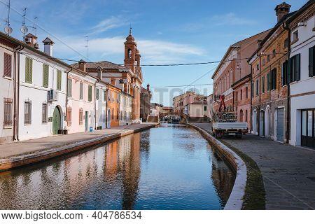 Comacchio, Ferrara / Italy - August 2020: Ponte Degli Sbirri In Comacchio, Italy With Main Canal Blu