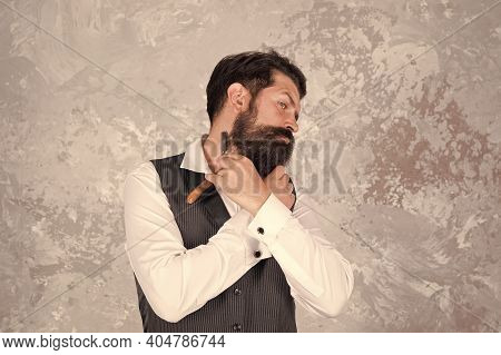 Retro Razor. Safety Grip That Does Not Slip. Classic Shave. Bearded Man Hold Vintage Razor. Shaving