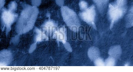Paint Water Background. Indigo Denim Dyed Pattern. Artistic Craft Surface. Aquarel Paint Stain Drawi
