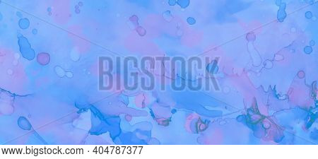 Pink Pastel Flow Liquid. Watercolor Paint Wallpaper. Blue Watercolor Background. Gradient Ink Stains
