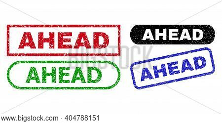Ahead Grunge Seals. Flat Vector Scratched Seals With Ahead Caption Inside Different Rectangle And Ro