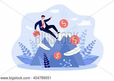 Business Leader Making Mistake And Falling Down From Top Of Mountain. Careless Bankrupt Losing Money