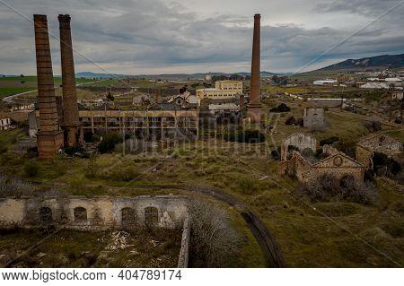 Aerial View Of The Abandoned Former Mining Operations Peñarroya-pueblonuevo Spain