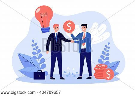 Angel Sponsor Investing Money In Startup. Investor Giving Financial Support To Entrepreneur, Buying