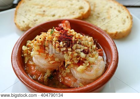 Mouthwatering Spanish Well Known Dish Of Gambas Al Ajillo Or Garlic Shrimps
