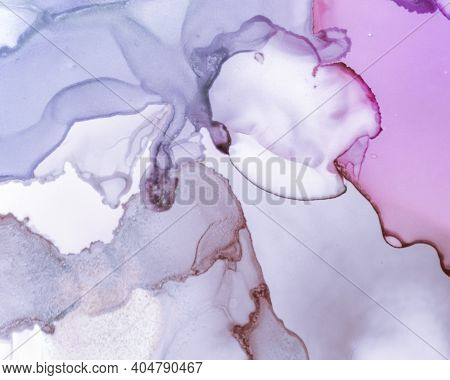 Ethereal Art Texture. Liquid Ink Wash Background. Purple Creative Drop Painting. Contemporary Flow M