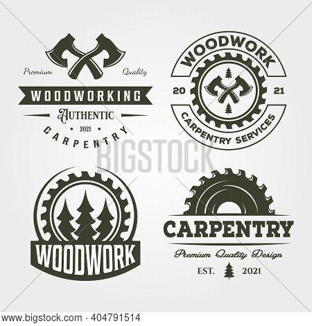 Carpentry Woodworker Set Logo Vintage Vector Symbol Illustration Design