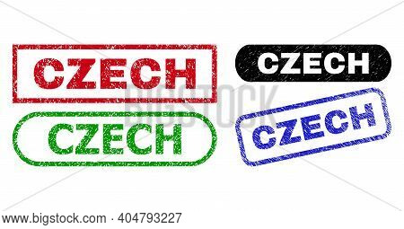 Czech Grunge Seal Stamps. Flat Vector Grunge Seal Stamps With Czech Tag Inside Different Rectangle A
