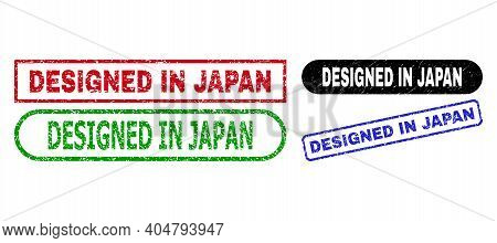 Designed In Japan Grunge Stamps. Flat Vector Grunge Seal Stamps With Designed In Japan Tag Inside Di