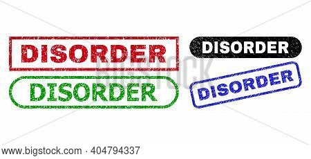 Disorder Grunge Stamps. Flat Vector Grunge Seal Stamps With Disorder Phrase Inside Different Rectang