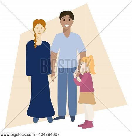 Happy International Family Portrait. Parents And Daughter. Multi Ethnic Family Concept. Isolated Vec